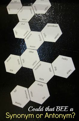 předělat na česká slova :) Could that BEE a Synonym or Antonym? Kids will have a blast making a honeycomb out of hexagon labeled with synonyms and antonyms. Free printable.