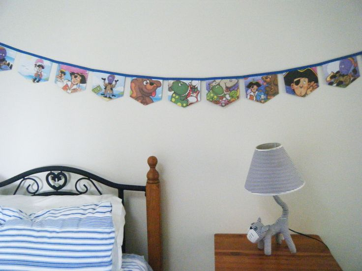 The Wiggles Henry's Big Band Up-cycled Little Golden Book Bunting  Great for a themed birthday party or child's room. Made from an up cycled Little Golden Book