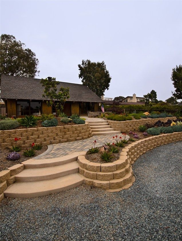 Front Yard, Retaining Walls, Block, Succulents  Retaining and Landscape Wall  Landscaping Network  Calimesa, CA