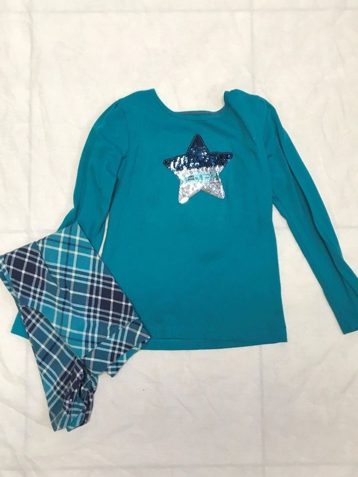 Garanimals sequence Star Teal shirt size 7 with matchig plaid leggings 6 Size  #Unbranded