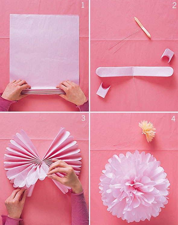 Pom poms - hang from ceiling for some WOW -stack a pack of tissue paper (between 8 and 11 sheets), fold back and forth like a fan, twist a bread tie/pipe cleaner in the center of fan, round both ends with scissors, separate pieces of tissue papers