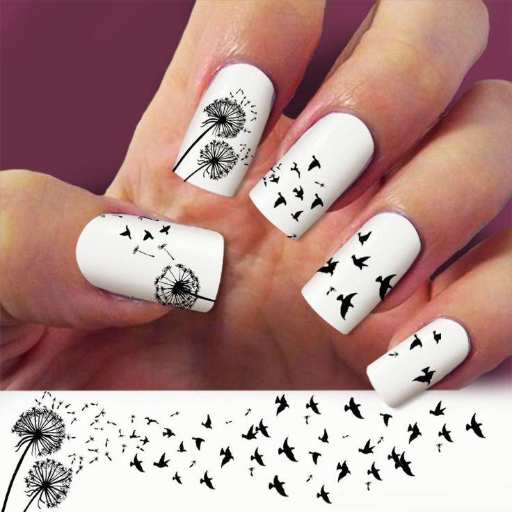 3 Strip Dandelion nail art nail decals Nail Art by Marziaforever