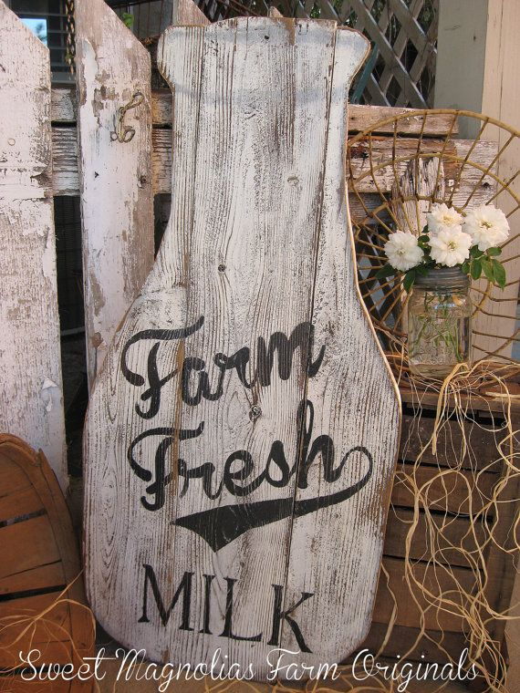 """Milk Bottle Wood Sign Farmhouse Style 32"""" T x 15"""" W.. (smaller size available in the shop too) by SweetMagnoliasFarm, 78.00"""