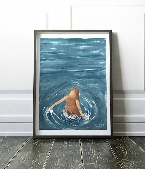 Sea Painting Woman Portrait Ocean Wall Art Modern Sea