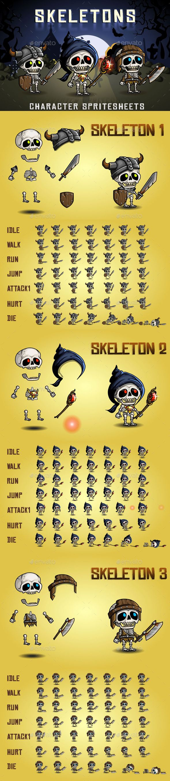 #Skeletons #2D #Game #Character #Sprite #Sheet #Template - Sprites Game #UI #UX #Assets #Design. Download here: https://graphicriver.net/item/skeletons-2d-game-character-sprite-sheet/19563497?ref=yinkira