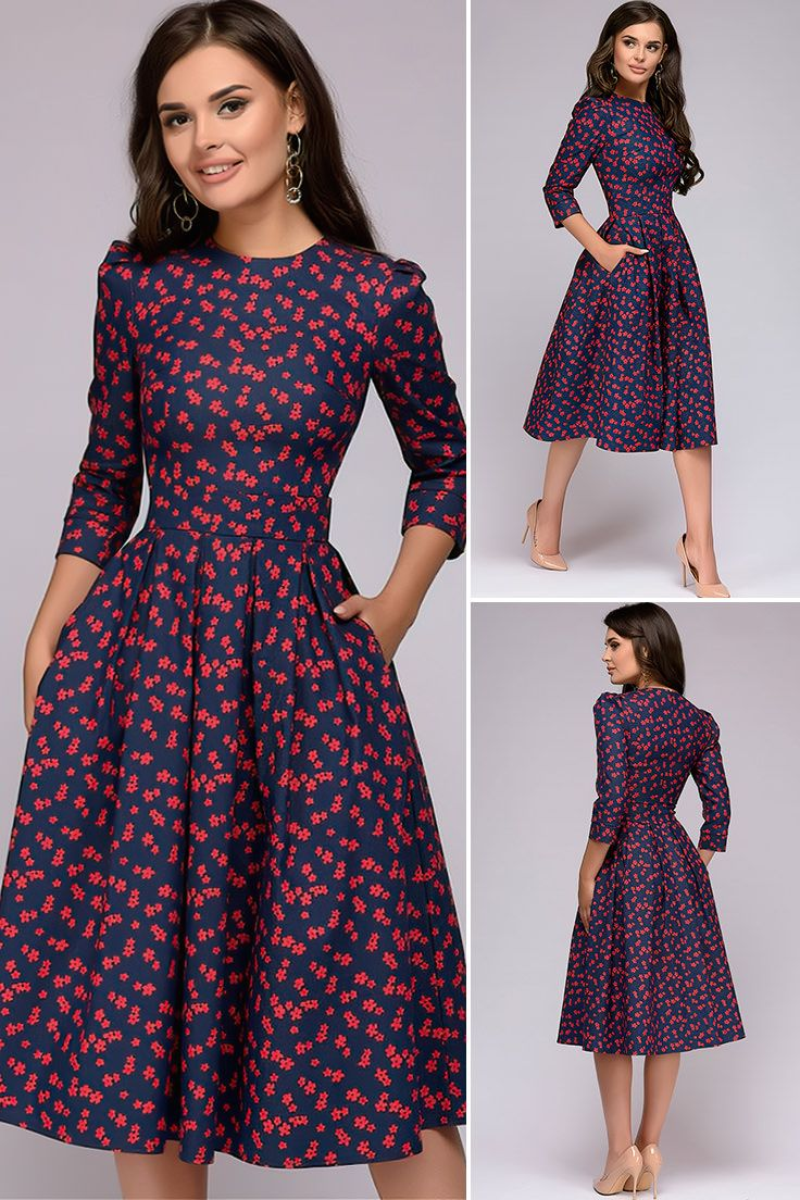 Women's Elegent Pleated Floral Printing A-line Dress 2020 Autumn Vintage  3/4 Sleeve Pockets Casual Blue Party Dress in 2020 | Blue party dress, A  line dress, Simple dresses