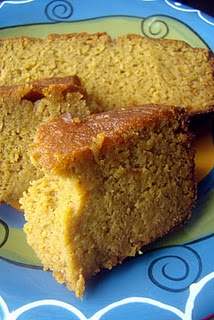 Pumpkin Spice Bread: butter, honey, eggs, yogurt, vanilla, cinnamon, nutmeg, ginger, cloves, salt, baking soda, coconut flour, pumpkin puree, crispy pecans, raisins.