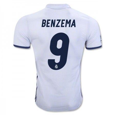 Real Madrid 16-17 Karim #Benzema 9 Hjemmebanesæt Kort ærmer,208,58KR,shirtshopservice@gmail.com