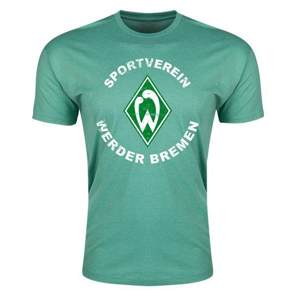 Werder Bremen Distressed Mens Fashion T-Shirt (Heather Green)