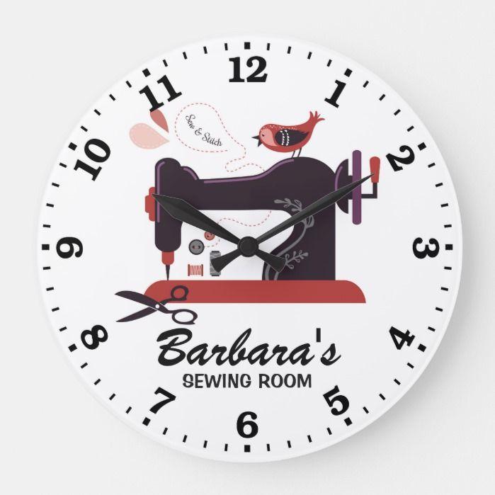 Sewing Machine Personalizable Wall Clock Zazzle Com Clock Wall Big Clocks