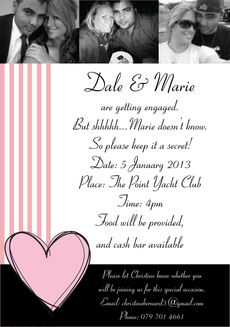 Engagement invite for Marie and Dale