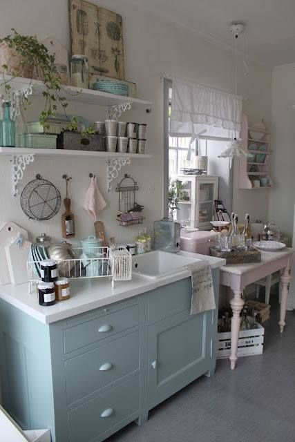 Little cottage kitchen- put some lace edging on the shelves and pink gauze curtains on the window, and...
