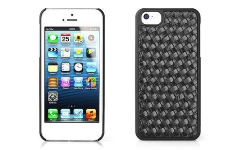 Cover-in-Pelle-Nera-con-Intreccio-Paraurti-per-iPhone-5S