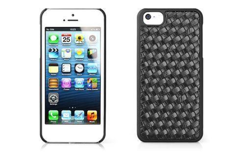 Cover-in-Pelle-Nera-con-Intreccio-Paraurti-per-iPhone-5S