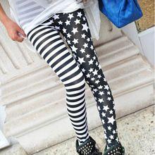 2016 Ladys Girls Fashion Okouzlující Pohodě Punk Style Sexy Lady Dámské Stripe Hvězda Skinny SlimStretchy Legíny Kalhoty (Čína (pevninská část))
