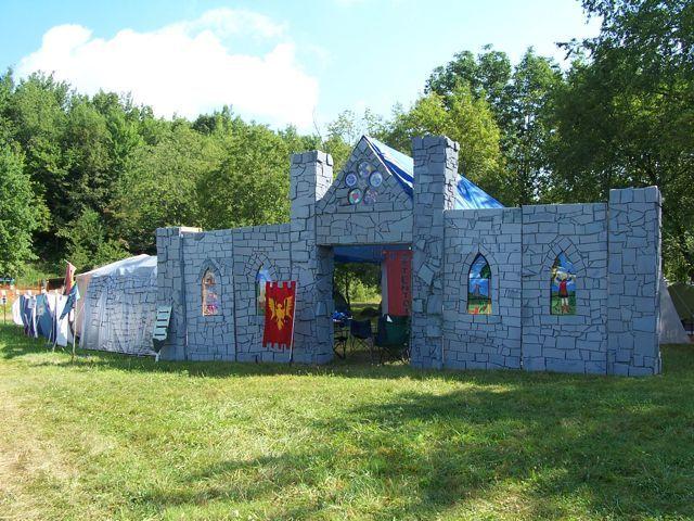 Faux stonework. Rigid insulation/styrafoam glued to plywood panels nad painted with acrylic/latex paint