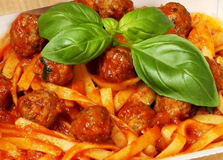 This is a family favourite and a staple for the kids. True Italians never serve spaghetti with meatballs; it has to be fettuccine or pappardelle pasta to be authentic.