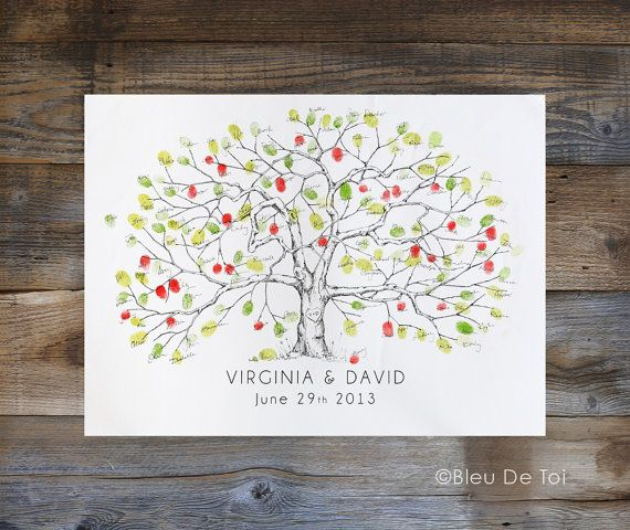 One original apple tree design printed on artist grade watercolor paper - Includes custom text below the tree - Fingerprint love birds and/or initials in a heart on the trunk, upon request - Fingerprints not included, please purchase corresponding ink pads and pens in our shop to use as a guest book alternative **Frame not included.** This is generally a standard poster size frame and can be found in most frame sources.  Choose size MEDIUM for 90-150 guests and size LARGE for 140-200 gu...