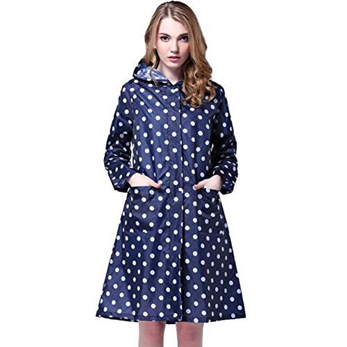 New Trending Outerwear: Trinny Womens Long Dot Waterproof Raincoat Rainwear Rain Jacket (Blue). Trinny Women's Long Dot Waterproof Raincoat Rainwear Rain Jacket (Blue)   Special Offer: $17.99      499 Reviews Good rainproof, Wearing breathable soft, not feel too bored; Good slim look, one size, multi colors; Lightweight, multi rain occassions use; Styish girls ladies Raincoat...