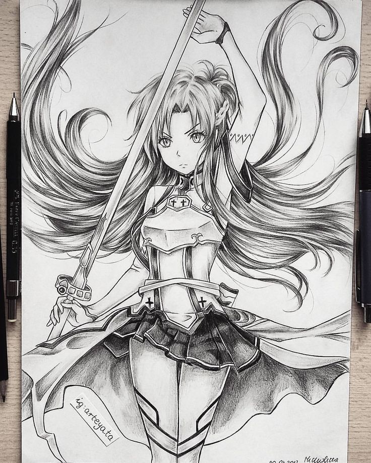 """18.2 k mentions J'aime, 316 commentaires - ✨☀️ (@arteyata) sur Instagram: """"Asuna Yuuki done with 2B faber castell pencil and HB 0.5 mechanical pencil #asuna #swordartonline…"""""""