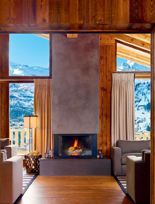 rich honeyed wood and grey concrete - Ski Chalets / Volume 15