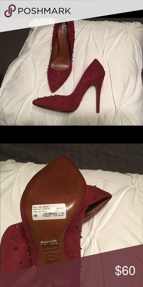 Red High Heel Shoes SCHUTZ SCHUTZ Red heels with spikes Size 8B. Never worn SCHUTZ Shoes Heels