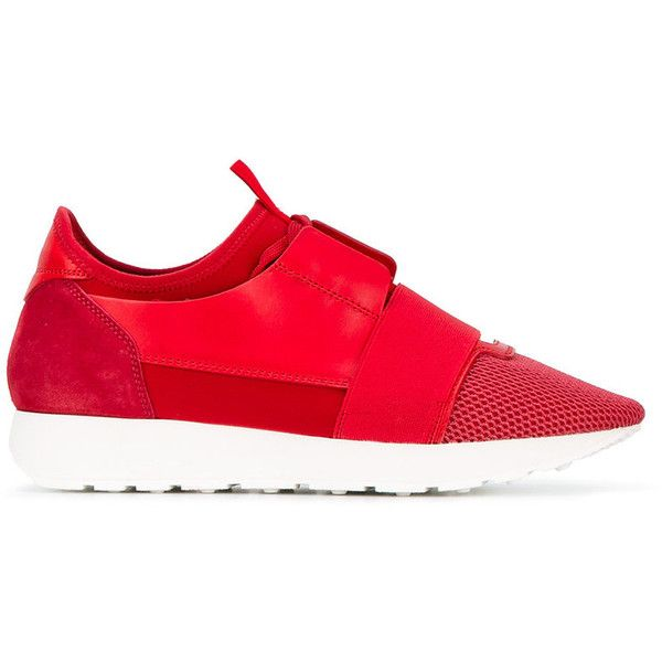 Balenciaga 'Race Runner' sneakers ($530) ❤ liked on Polyvore featuring shoes, sneakers, red, balenciaga, balenciaga sneakers, lacing sneakers, small heel shoes and red lace up shoes