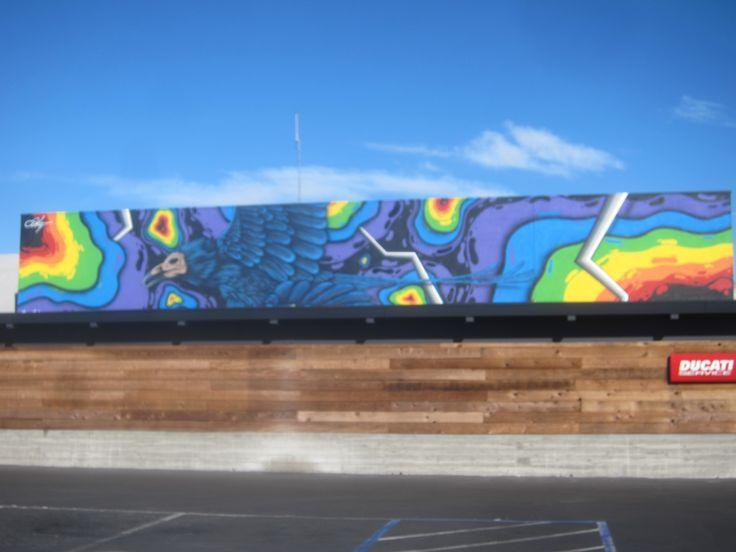 Raven Mural (artist unknown! please tell me!) at the DUCATI Shop, San Rafael Harbour, CA