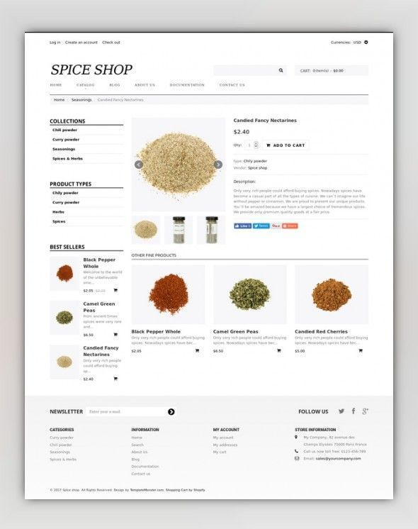 Spice Shop Responsive Shopify Theme E-commerce Templates, Shopify Themes,  Food & Restaurant