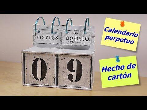 Calendario de mesa de cartón perpetuo | Manualidades