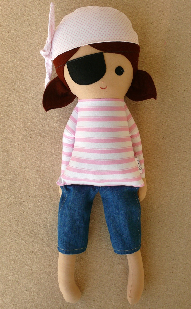 Fabric Doll Stuffed Toy Rag Doll Girl Pirate Doll by rovingovine
