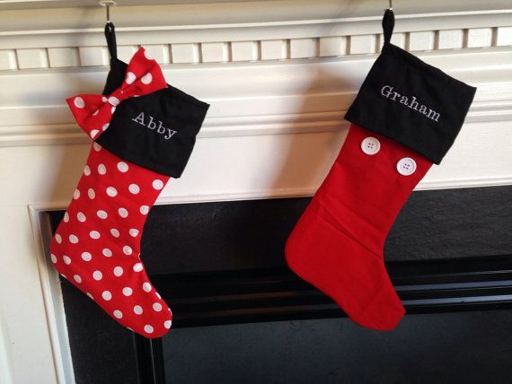 Mickey Mouse Minnie Mouse Stockings Tree Skirts by HouseWifeCharm