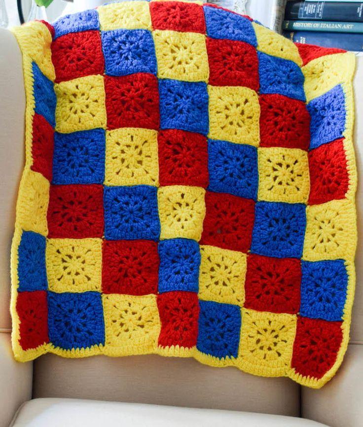 Primary Color Checkerboard Afghan   AllFreeCrochetAfghanPatterns.com