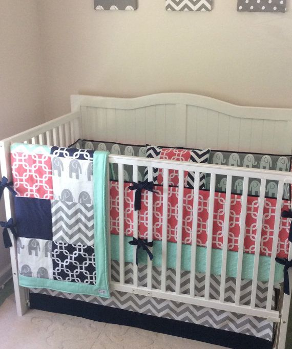 Navy Mint and Coral Crib Bedding Set Made by butterbeansboutique