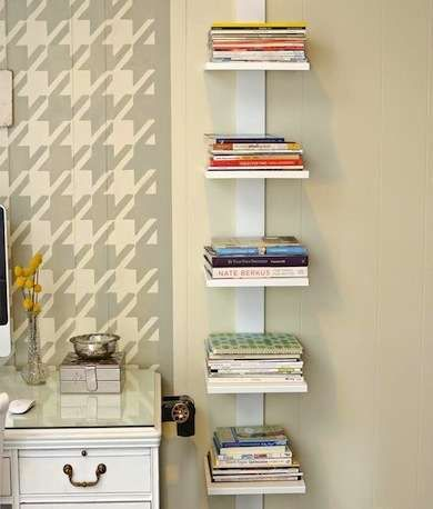 Bookshelf Beside Desk...Lean on Me===A tower of narrow shelving right next to your desk area keeps books and notebooks handy and organized. It's a great solution for any compact, linear space.