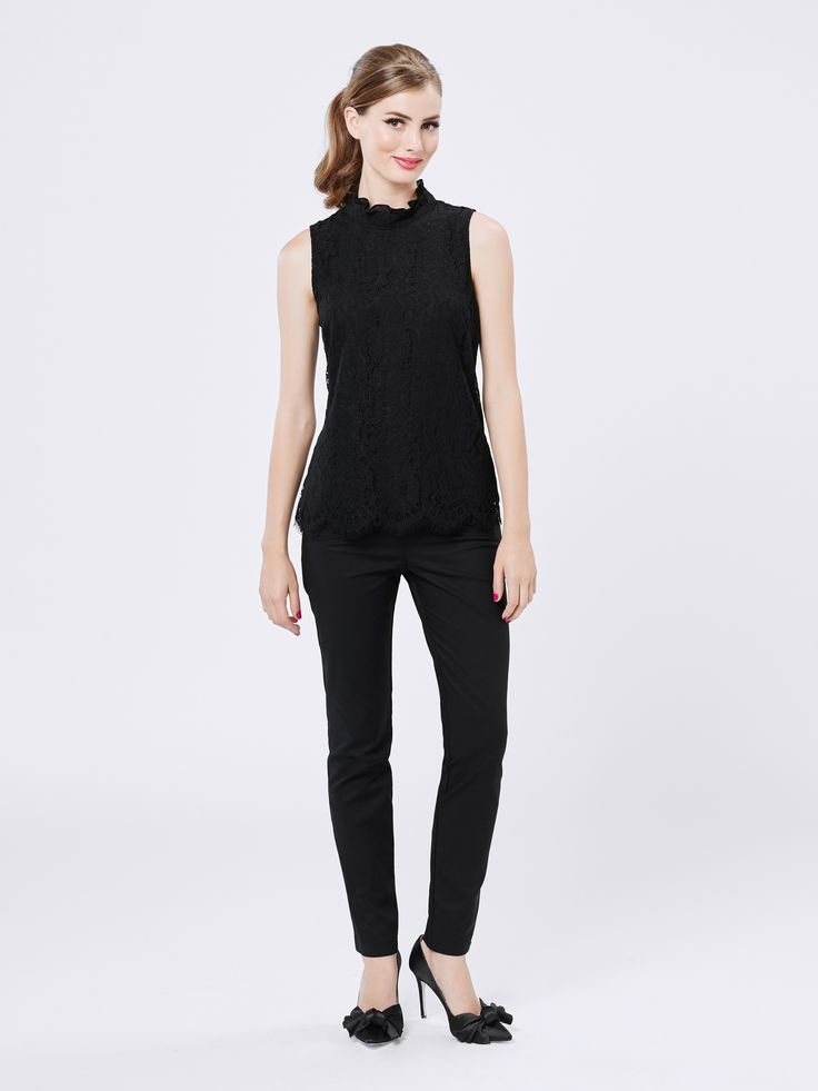 Tarina Top   Black   Lace Tops