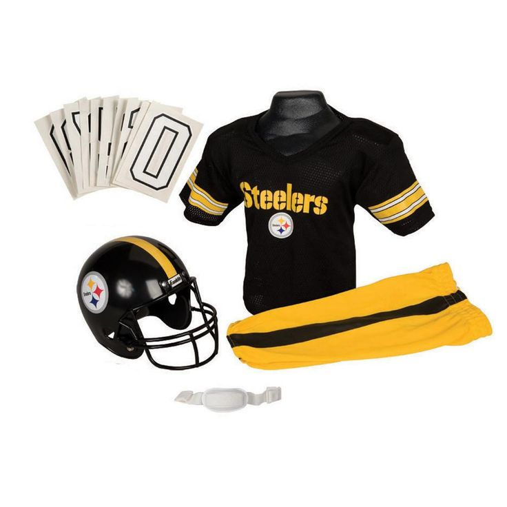 Pittsburgh Steelers Youth NFL Deluxe Helmet and Uniform Set (Small)