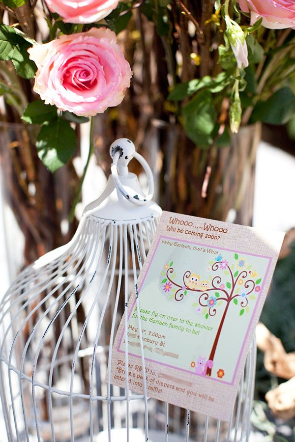 Darling Woodland Owl Baby Shower {Girl} // Hostess with the Mostess®  I adore the idea of having a couple vintage birdcages around for decor.  they can be baby room decor after the shower!