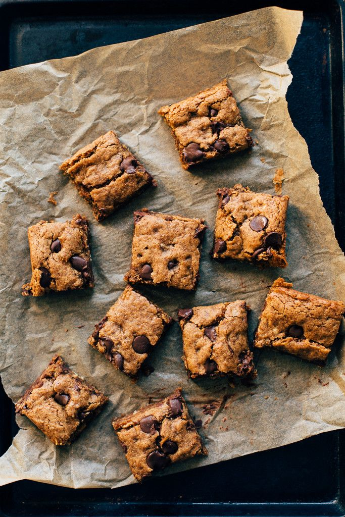 Can use pb and almond flour as subs in this!..Almond Butter Oatmeal Chocolate Chip Cookie Bars