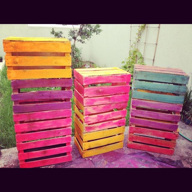Rejas de fruta de colores casita pinterest - Cajones de fruta de madera ...