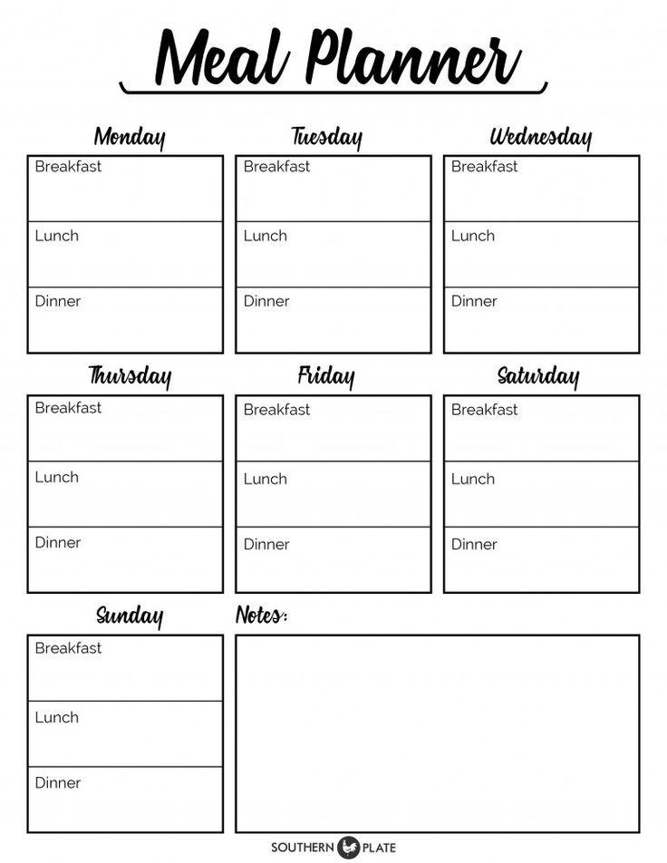 Oltre 25 idee originali per Free printable meal planner su - printable meal planner