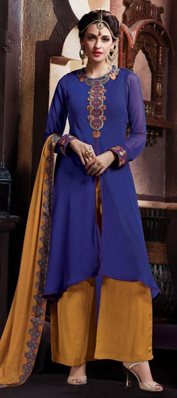 458501 Blue  color family Party Wear Salwar Kameez in Faux Georgette fabric with…