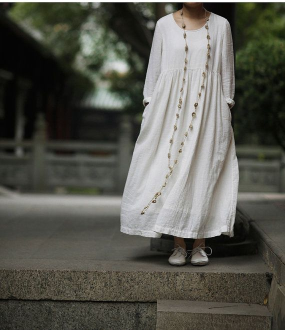 off white cotton dress maxi dress loose fitting by camelliatune