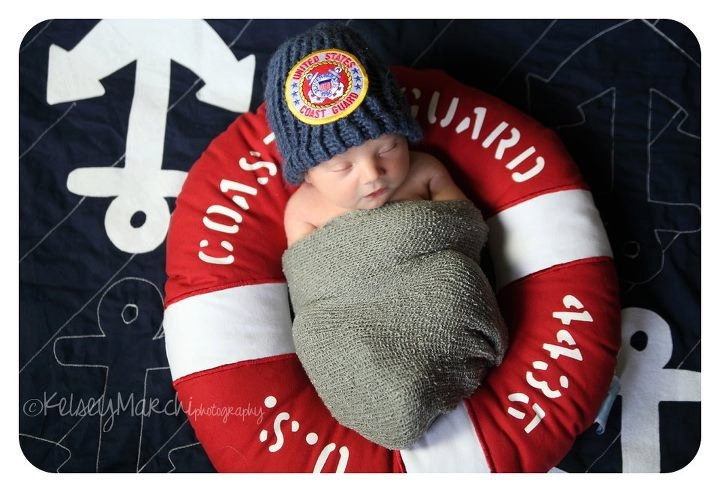 Ship's A'hoy Anchor Baby Blanket. $45.00, via Etsy. Coast Guard