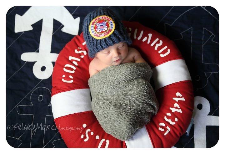 Ship's A'hoy Anchor Baby Blanket. $45.00, via Etsy. Coast Guard