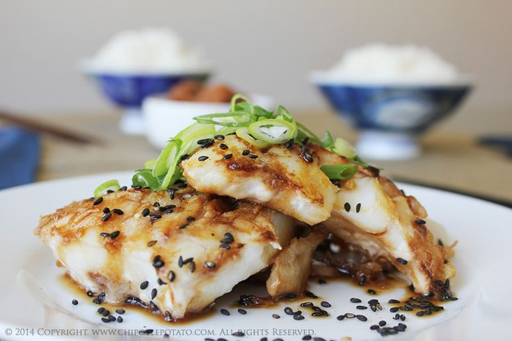 "Teriyaki Alaskan Cod served with Steamed Rice. Teriyaki is a pan-fried, broiled or grilled method of cooking and literally means, ""grilled with gloss"". Try our Teriyaki Cod recipe"