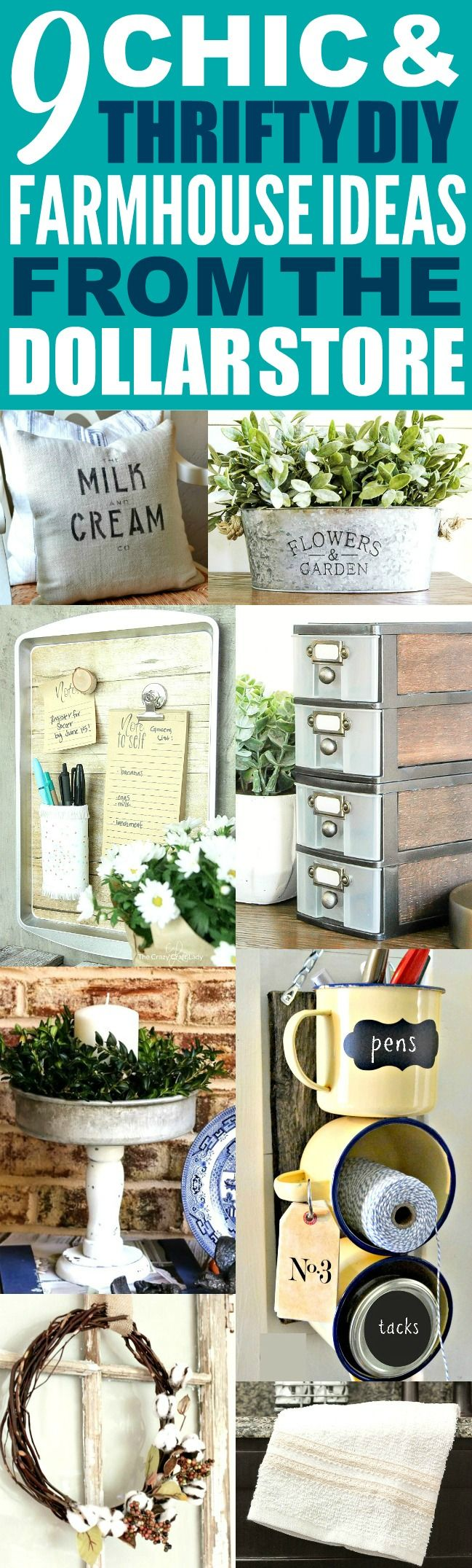 These 9 dollar store farmhouse decor ideas are THE BEST! I'm so happy I found these GREAT fixer upper ideas! Now I have some great ways to make my home look like Chip and Joanna Gaines' farmhouse style!