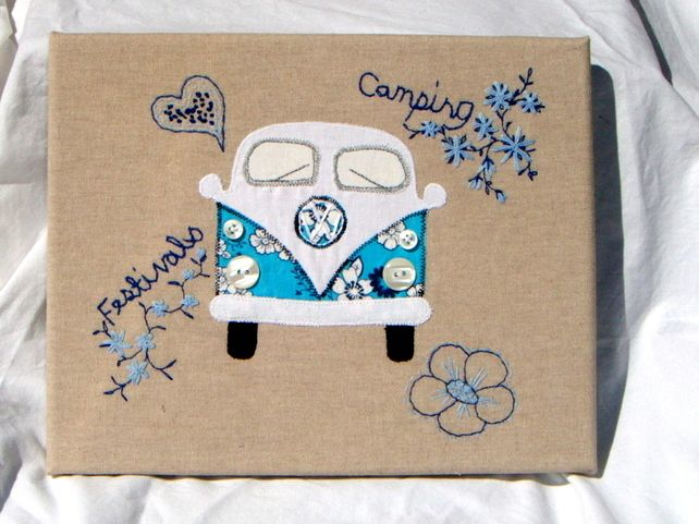 'Keep the Love and Go to Festivals' - Campervan Textile Art £30.00