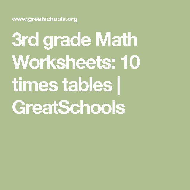 3rd grade Math Worksheets: 10 times tables | GreatSchools