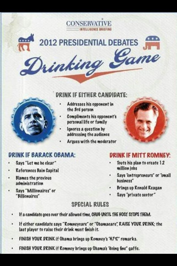 2012 Presidential Debate Drinking Game - The only way I'm political. :-p